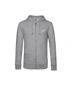 Organic Zip Hoodie Man - grey heather