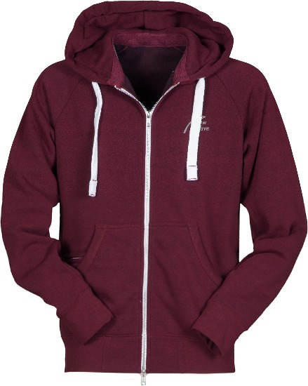 Soft Fleece Full Zip Hoodie-bordaux meliert