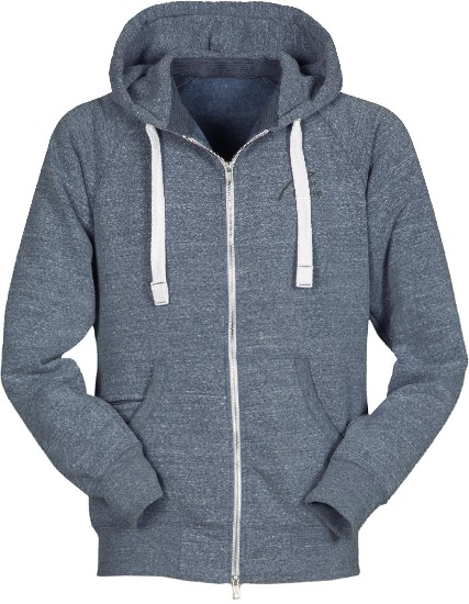 Soft Fleece Full Zip Hoodie-navy blau meliert