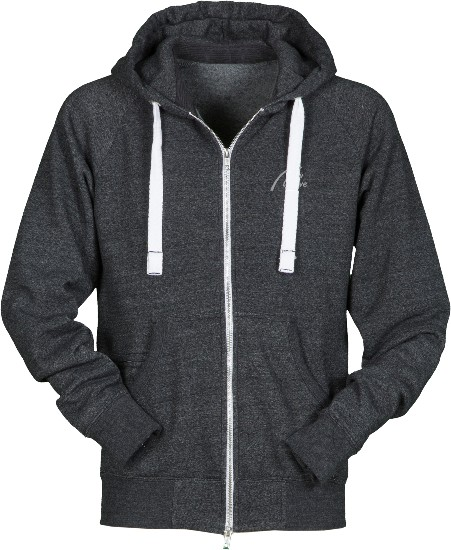 Soft Fleece Full Zip Hoodie-schwarz meliert