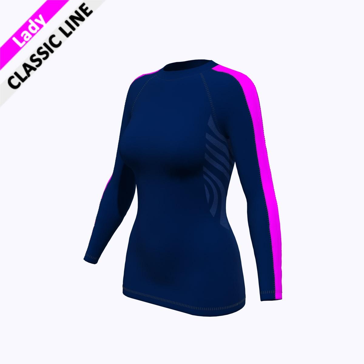 2skin - Longsleeve marine/pink F (Body - marine / Armstreifen - pink)