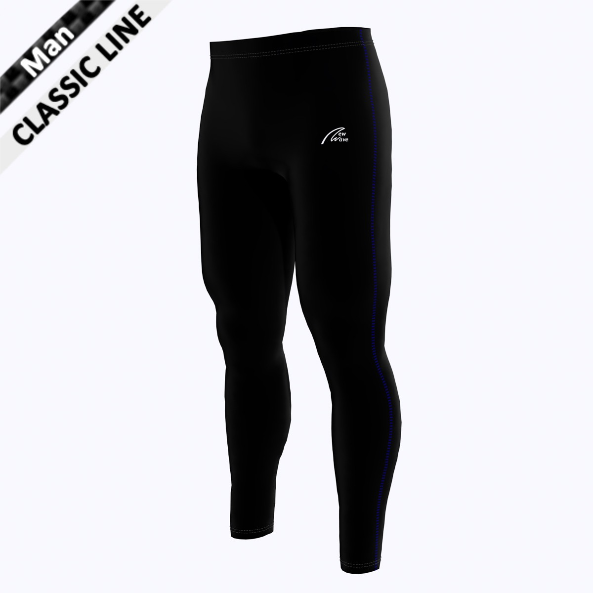 Coloured Seam Tight - Man royal blau  (Hose - schwarz / Seitennaht - royal blau)