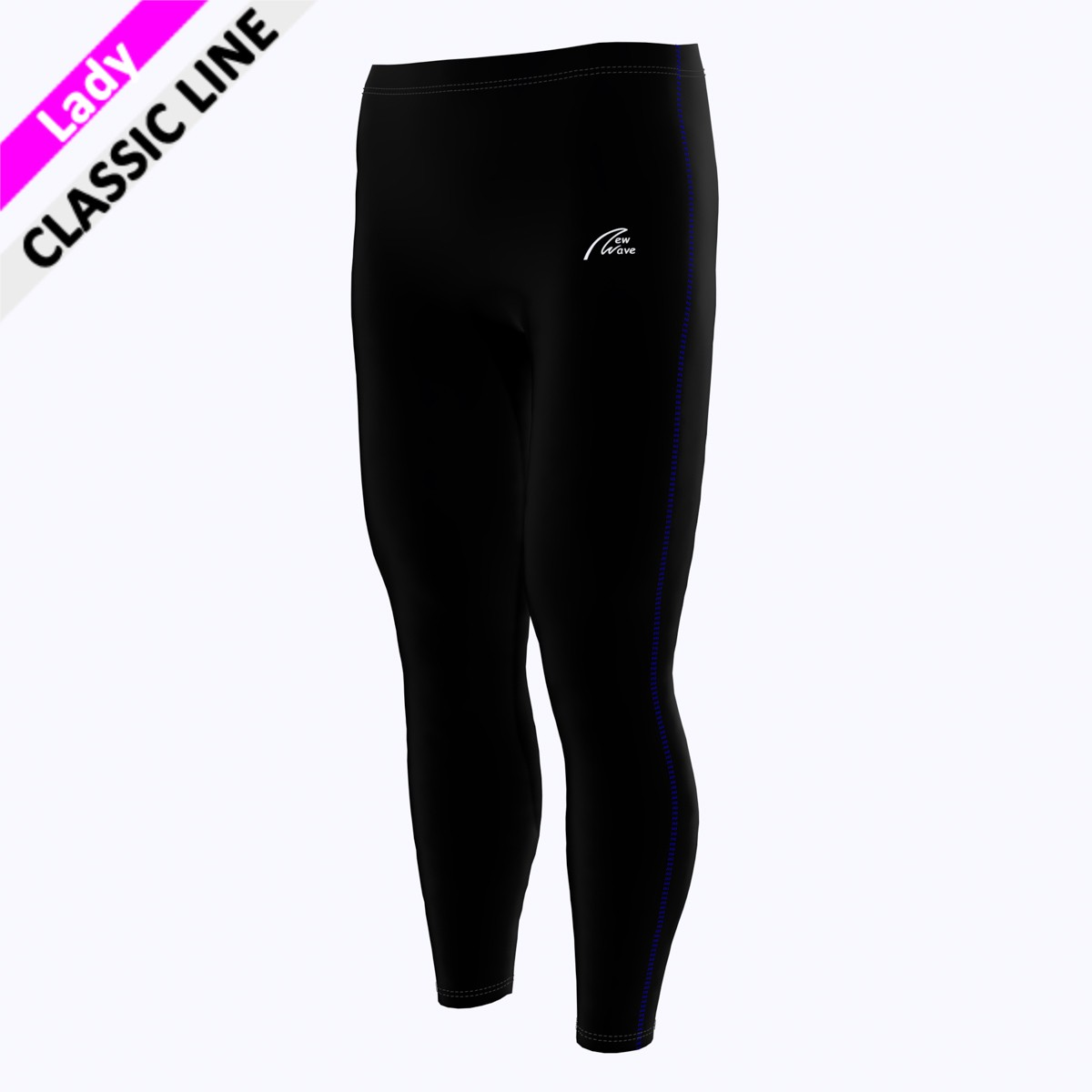 Coloured Seam Tight - royal blau F  (Hose - schwarz / Seitennaht - royal blau)