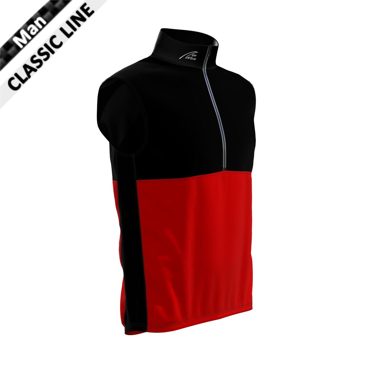 St. Moritz Vest - Man schwarz/rot  (Kragen, Brust, Rückenoberteil, Seitenstreifen - schwarz / Bauch, Rückenunterteil - rot)