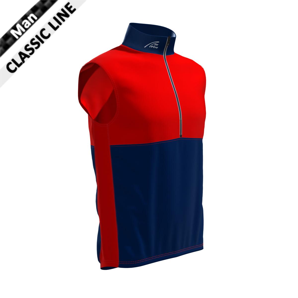 St. Moritz Vest - Man marine/rot  (Brust, Rückenoberteil, Seitenstreifen - rot / Kragen, Bauch, Rückenunterteil - marine)