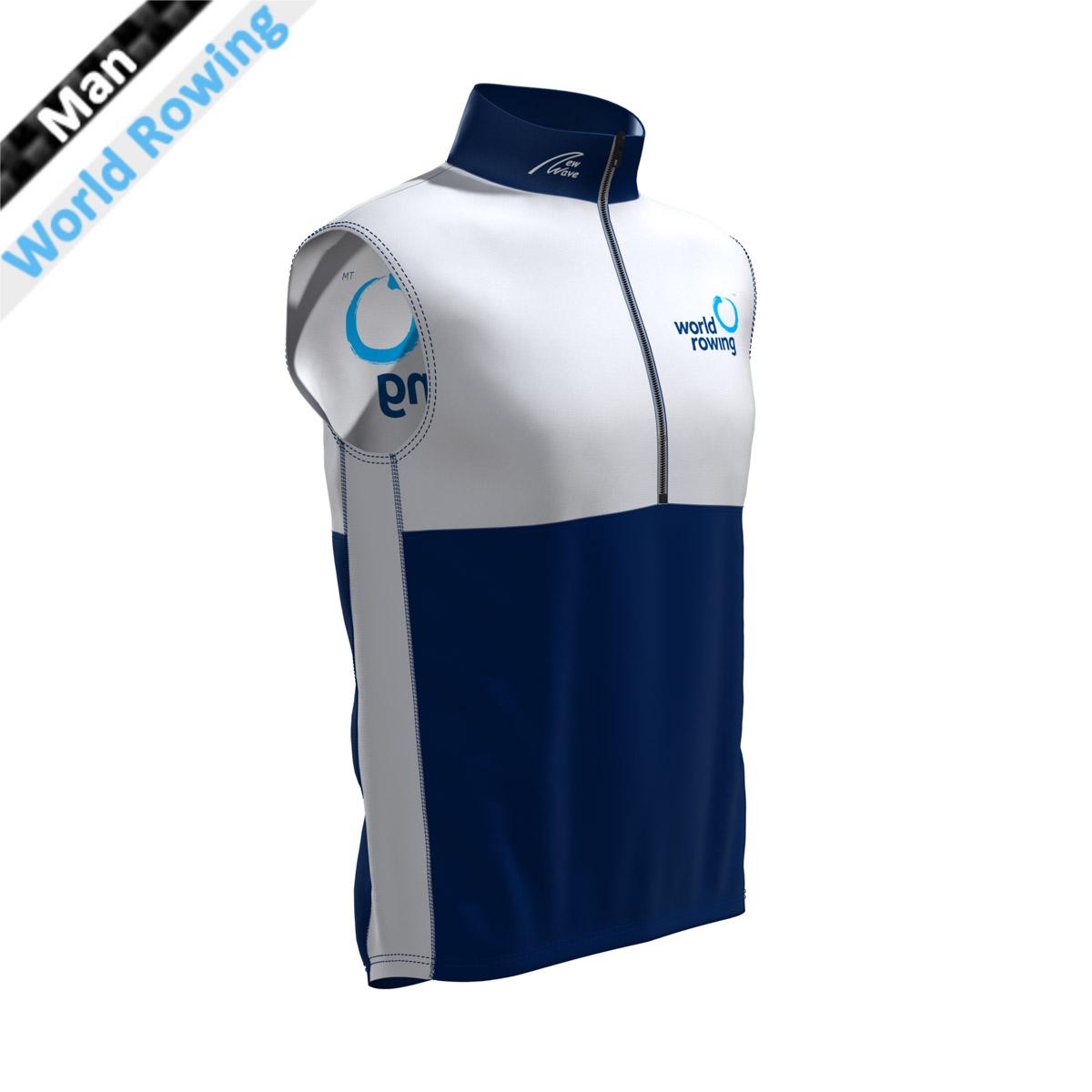 World Rowing Vest - Man weiß/marine (Kragen, Bauch, Rückenunterteil - marine / Brust, Rückenunterteil, Seitenstreifen - weiß WR)