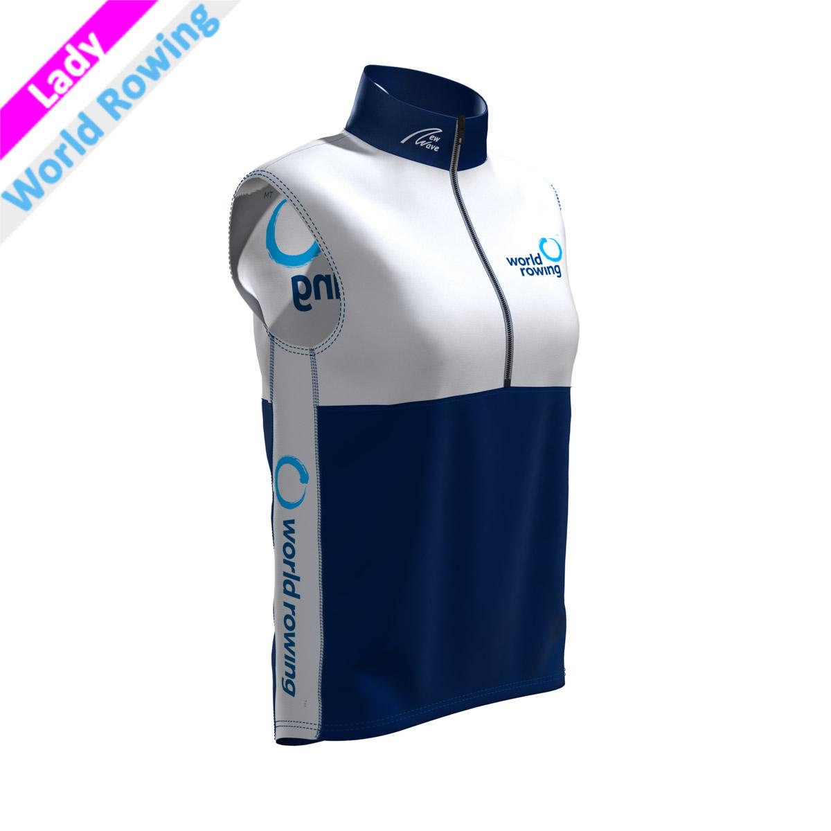 World Rowing Vest - Lady weiß/marine(Kragen, Bauch, Rückenunterteil - marine / Brust, Rückenunterteil, Seitenstreifen - weiß WR)