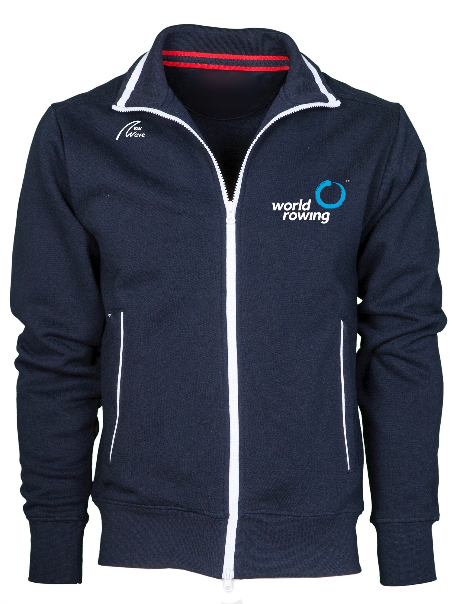 World Rowing Old School Jacket Man - Navy, NW Logo Brust oben rechts, WR Logo 10cm Brust lins, WR Logo 25cm Rücken
