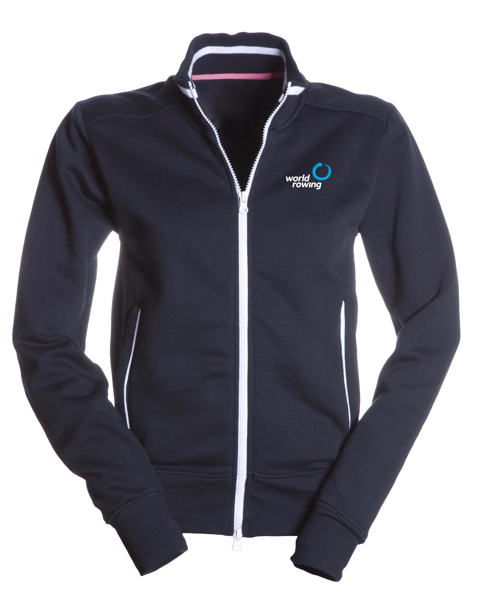 World Rowing Old School Jacket Lady - Navy, NW Logo Brust oben rechts, WR Logo 10cm Brust lins, WR Logo 25cm Rücken