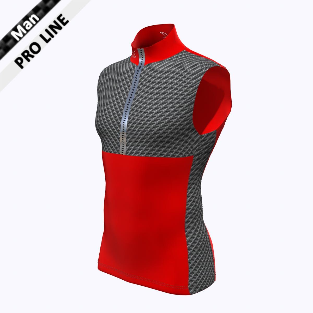 Pro Vest Man - Red/Carbon  Brust/Seitenstreifen - Carbon,  Kragen, Bauch, Rücken - rot