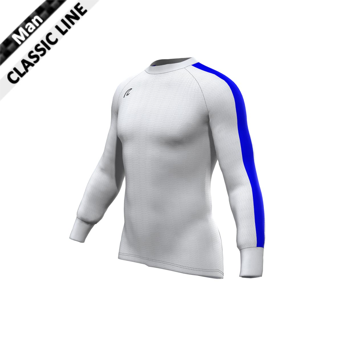 CoolMax Longsleeve - Man weiss-royal blau
