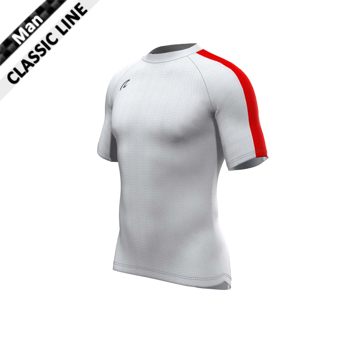 CoolMax Shirt - Man weiss-rot