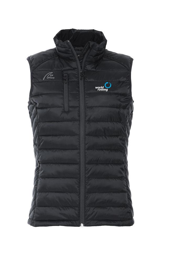 Superlight Padded Vest - Lady schwarz WR; WR Logo weiß gestickt, NW Logo grau druck
