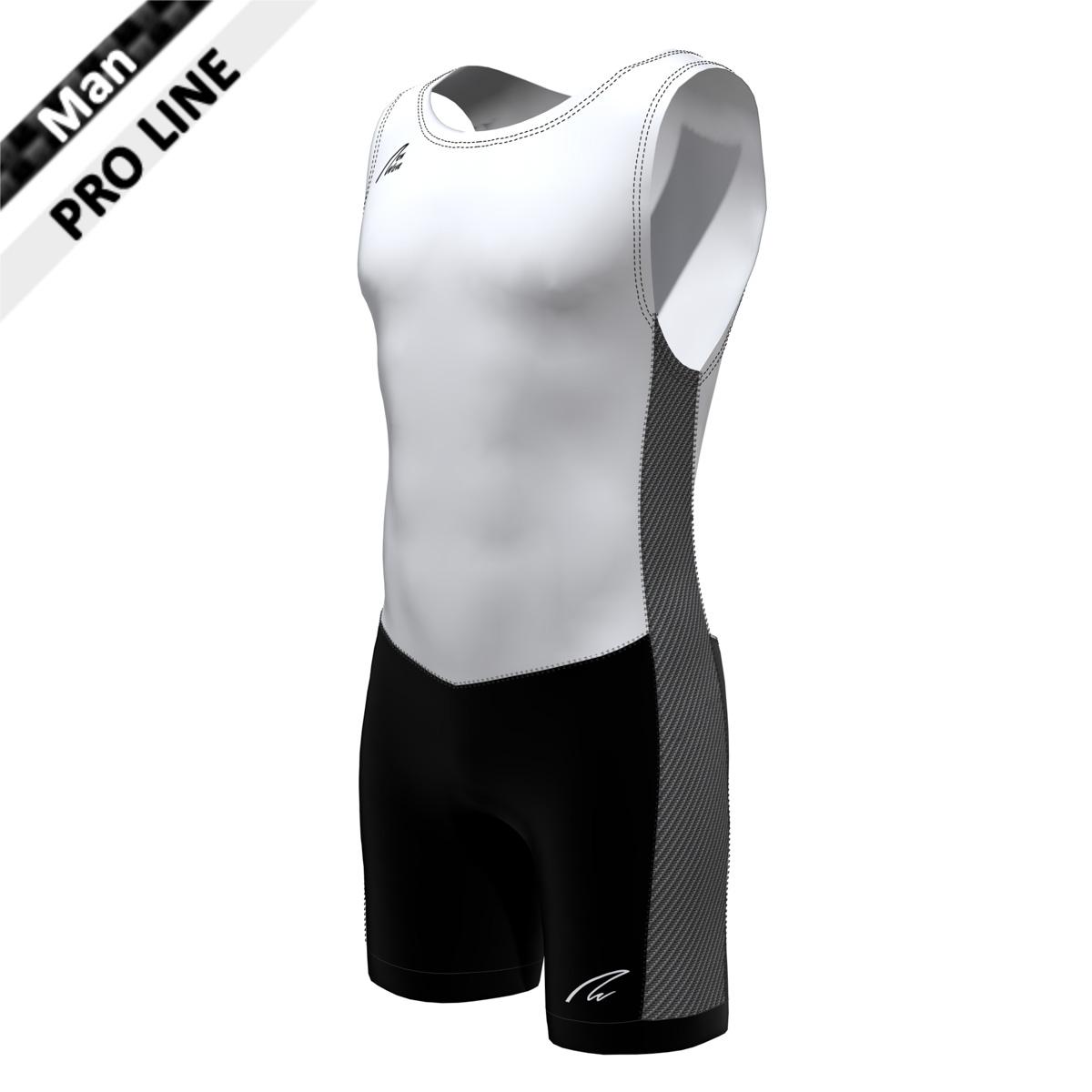 Pro Suit Man - White/Carbon; Body weiß, Rückenteil weiß, Hose schwarz, Seitenstreifen carbon