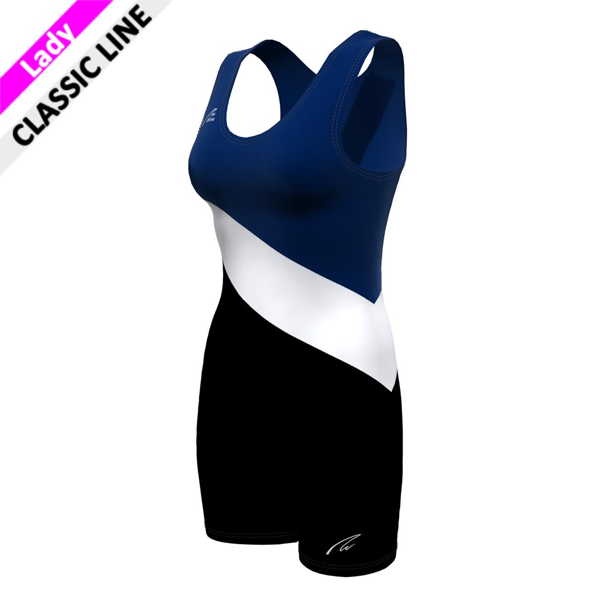 Vichy Suit - F; Hose schwarz, Querstreifen weiß, Oberkörper marine blau