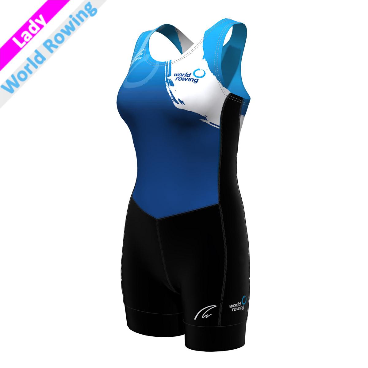 Pro Suit - Lady World Rowing (Hose - schwarz/Seitenstreifen - schwarz mit wr Druck/Brust,Rücken - sublimiert)