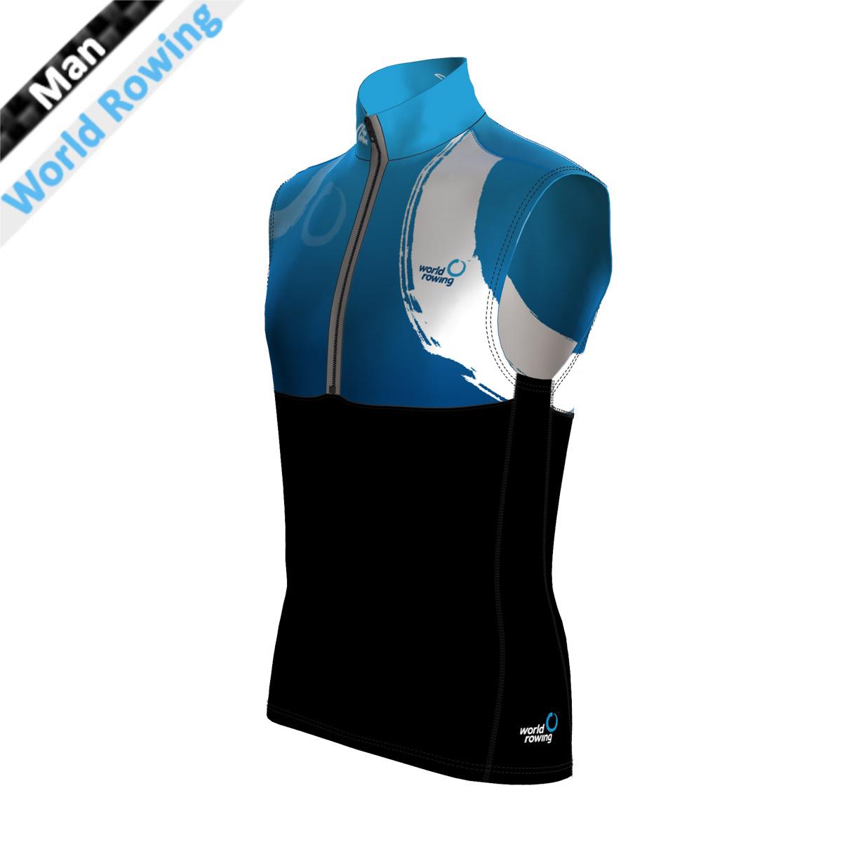 Pro Vest Man - World Rowing (Kragen, Brust, Rücken oben - sublimiert/Bauch,Rücken,Seitenstreifen - schwarz mit wr Druck)