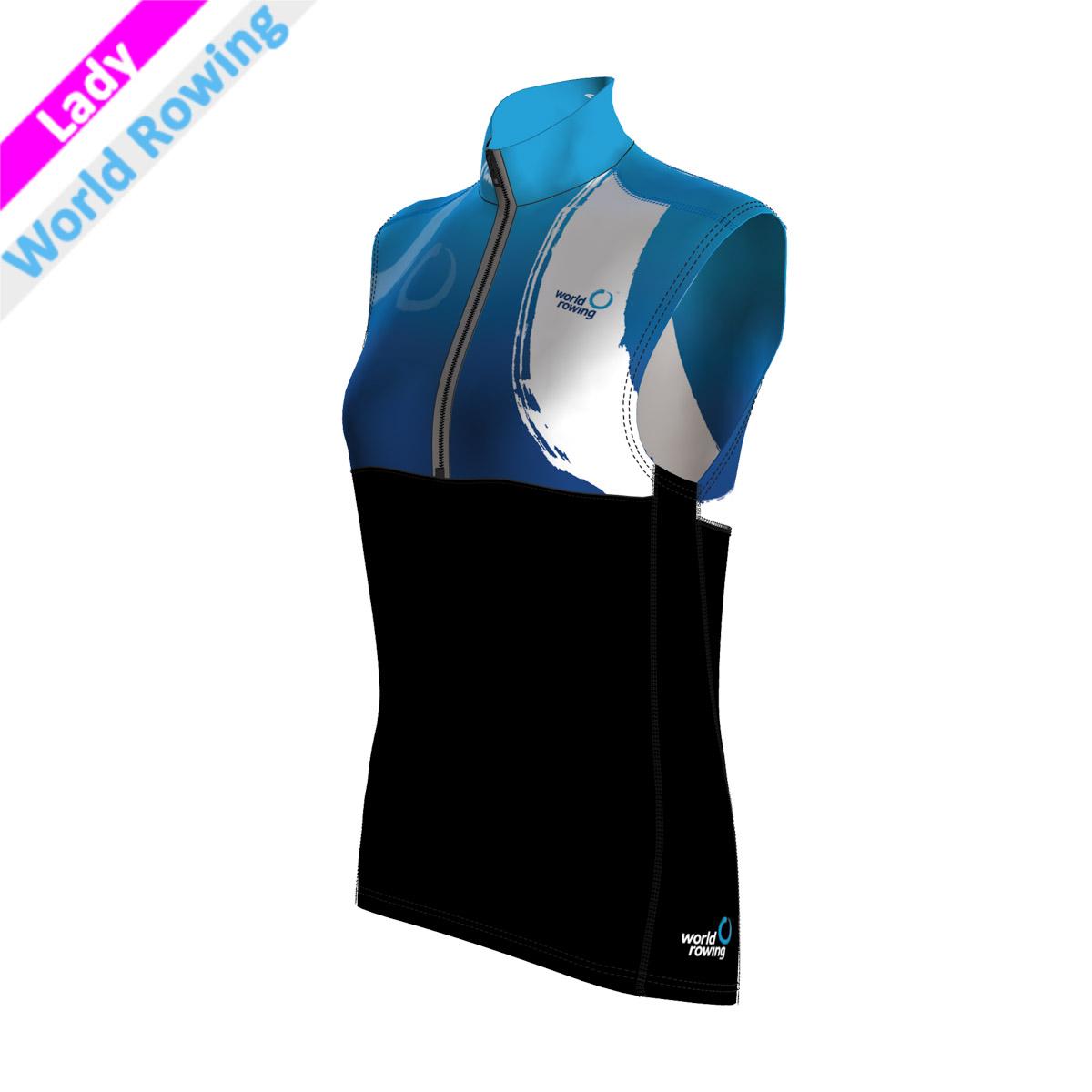 Pro Vest Lady - World Rowing (Kragen, Brust, Rücken - sublimiert/Bauch,Rücken,Seitenstreifen - schwarz mit wr Druck)