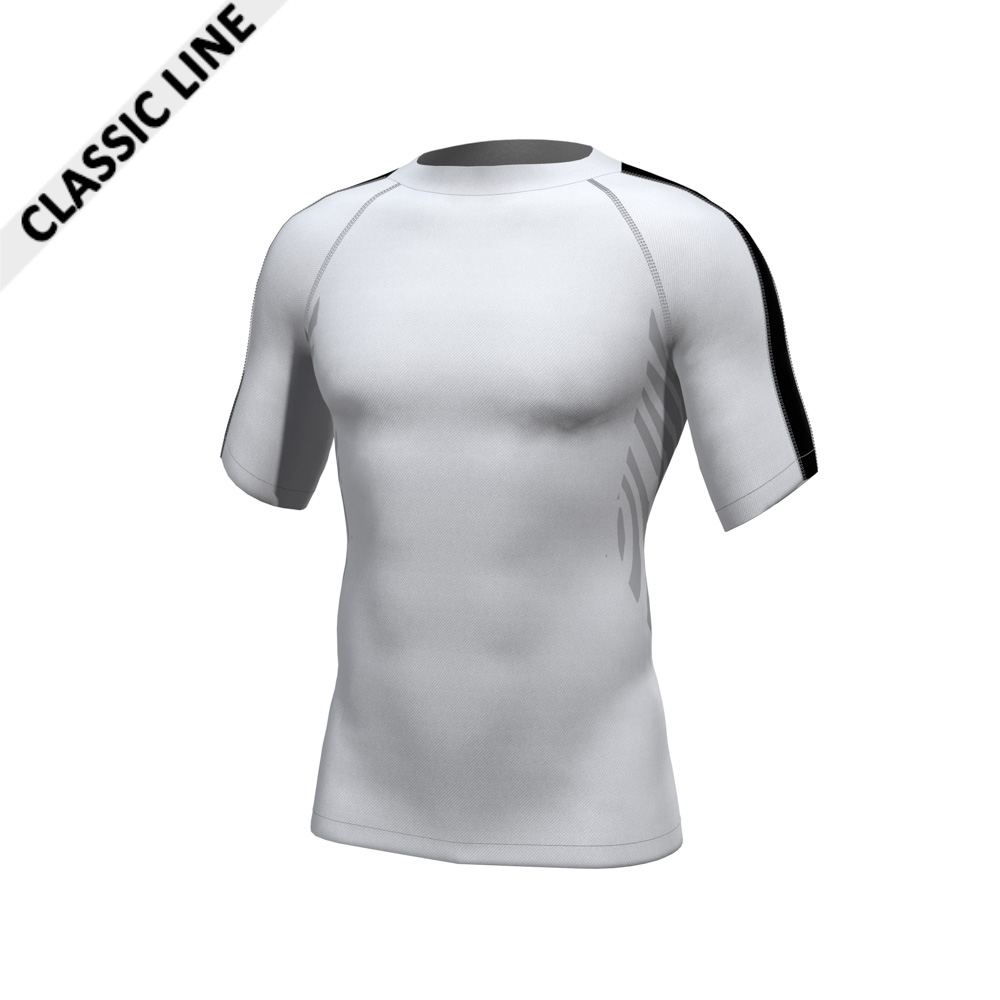 2skin Arm Stripe - Shirt weiß/schwarz; Body weiß , Armstreifen schwarz