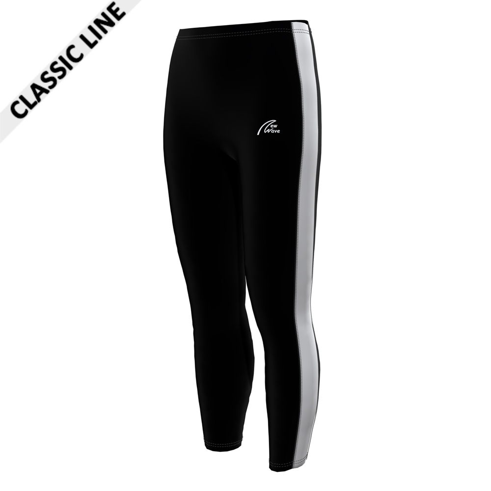 Rowing Sport Leggings - Black F; Pants black / Sidestripe white