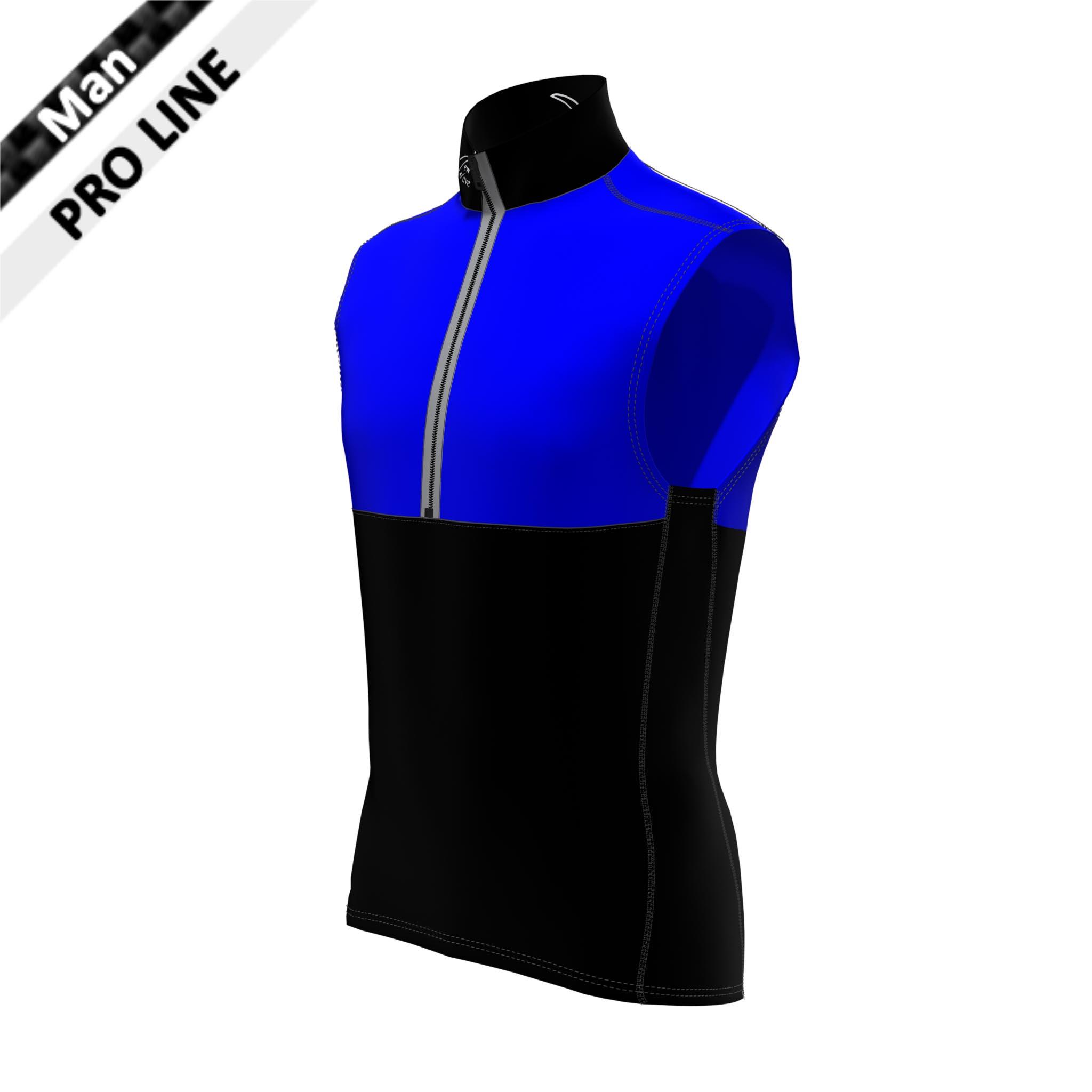 Pro Vest Man black & royal; Kragen - Seitenstreifen - Bauch - Rücken unten schwarz / Brust & oberer Rücken royal