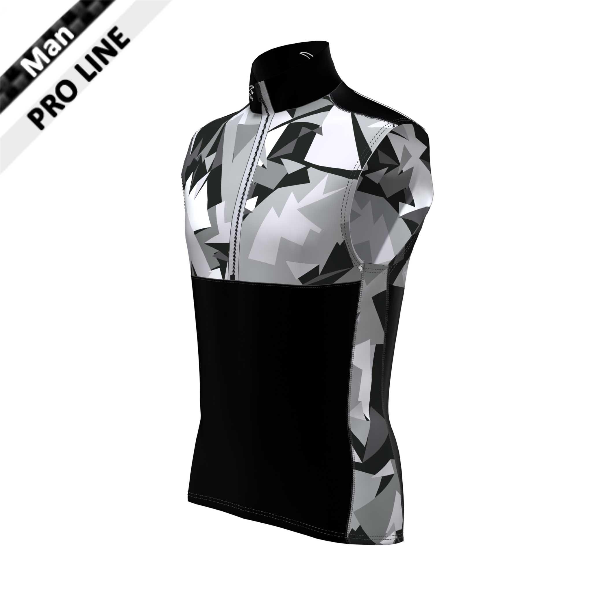 Pro Vest Man - Camouflage; Kragen, Schulter, Bauch, Rücken unten - schwarz / Brust, Rücken oben, Seitenstreifen - Camouflage