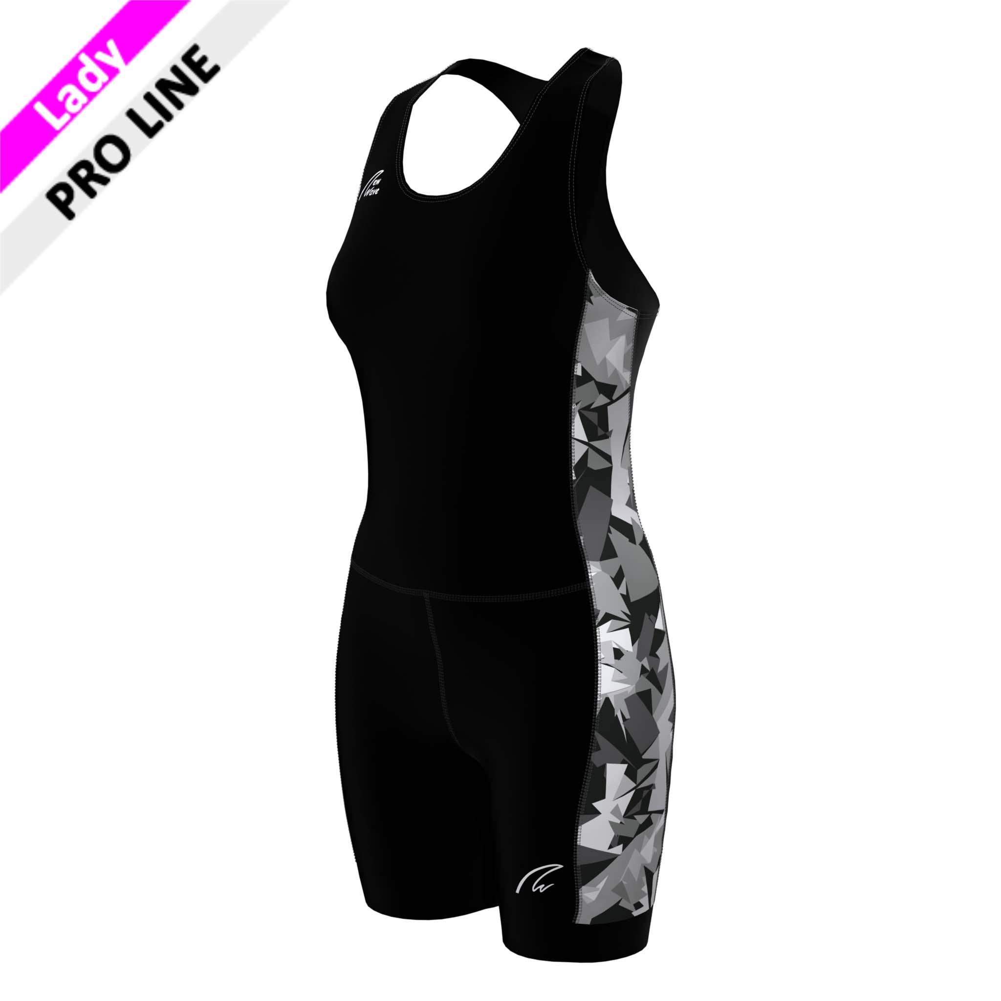 Pro Suit Lady - Camouflage; Body & Hose schwarz; Seitenstreifen Camouflage